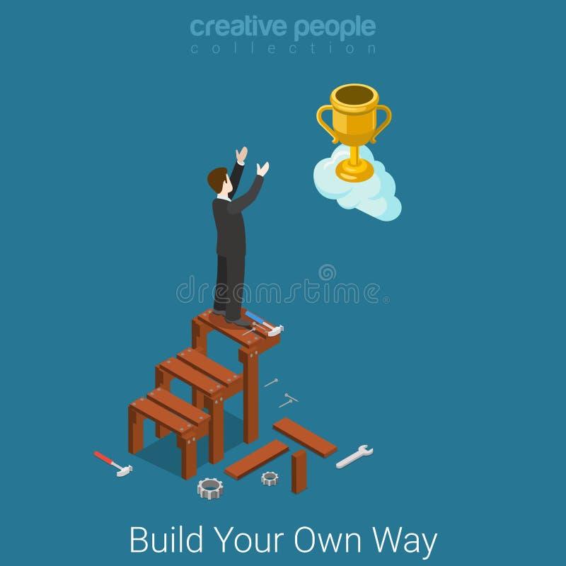 Construya para poseer el vector plano 3d de las escaleras del negocio del éxito de la manera isométrico stock de ilustración