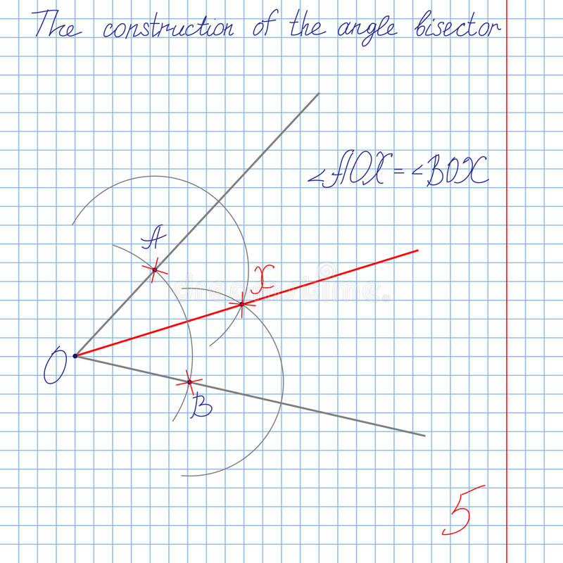 Construya un ángulo bisectriz stock de ilustración