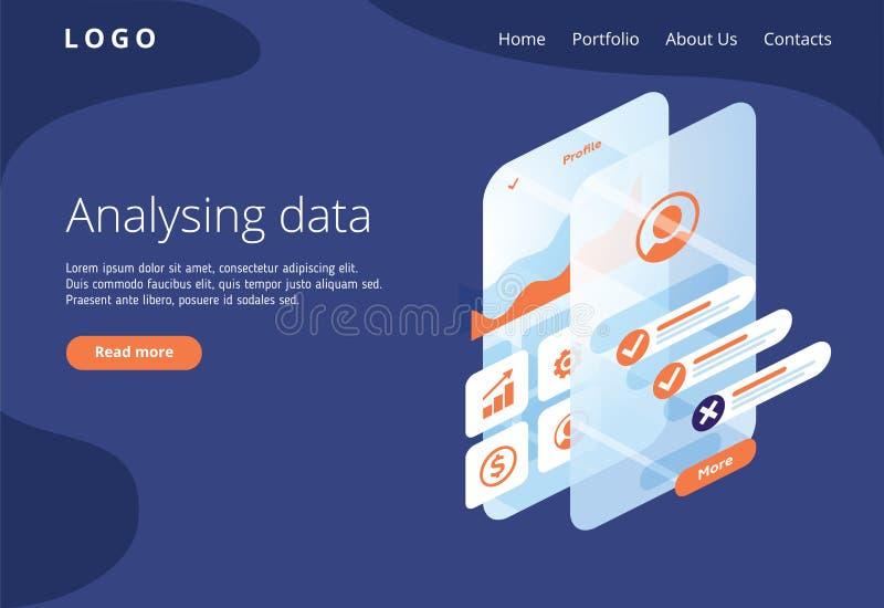 Construya un perfil de cliente en una aplicación móvil Situaciones del análisis y de la oficina de datos Ejemplo isométrico del v ilustración del vector