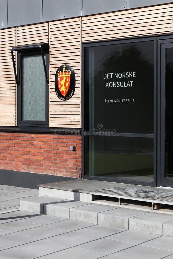 Consulado de Noruega en la ciudad de Aarhus imágenes de archivo libres de regalías