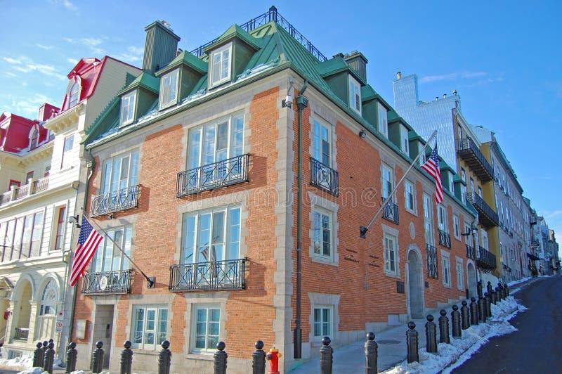 Consulado general de los E.E.U.U., la ciudad de Quebec, Canadá fotos de archivo libres de regalías