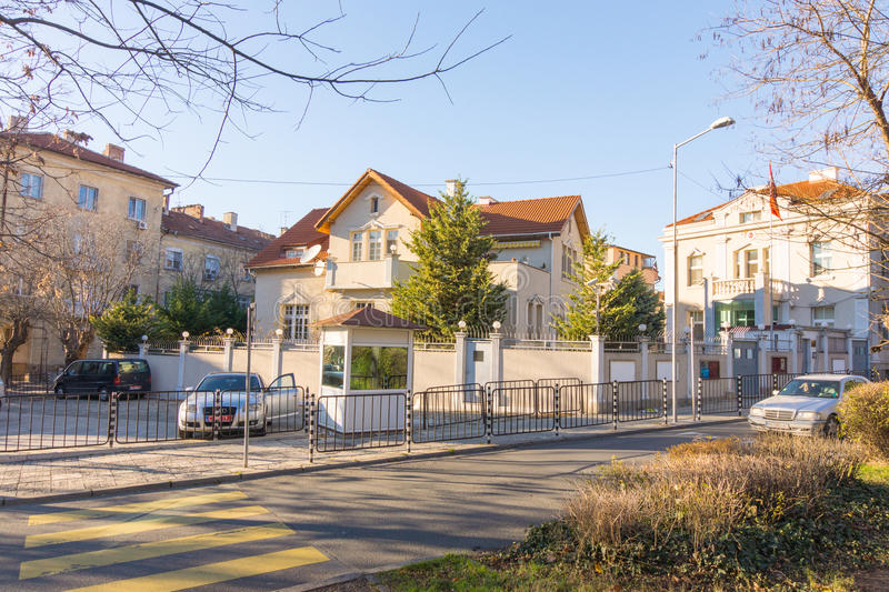 Consulate General of the Republic of Turkey in Burgas, Bulgaria. Burgas - the regional center in Bulgaria, a major seaport on the Black Sea. Modern and historic royalty free stock photography