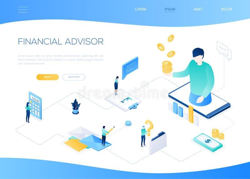 Consulente finanziario - insegna isometrica variopinta moderna di web illustrazione di stock