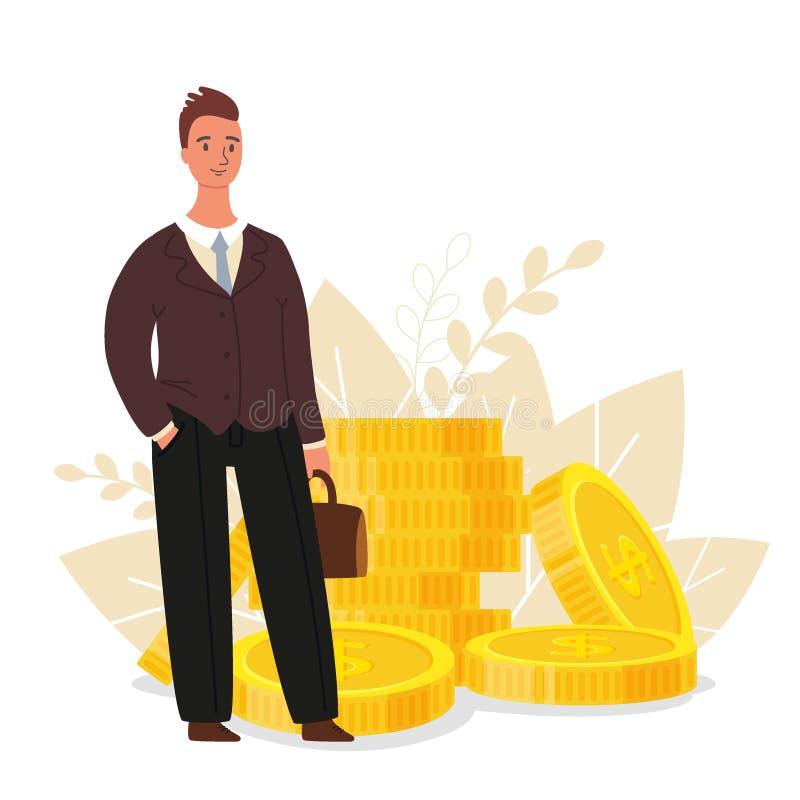 consulente finanziario L'uomo d'affari sta stando vicino alle monete, concetto di finanza di affari, illustrazione piana di vetto fotografia stock
