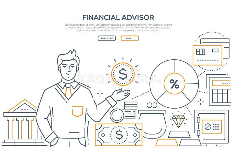 Consulente finanziario - linea moderna insegna di web di stile di progettazione illustrazione di stock