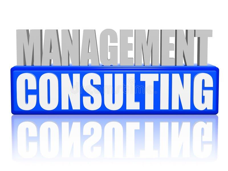 Consulenza gestionale in lettere 3d e blocco illustrazione di stock