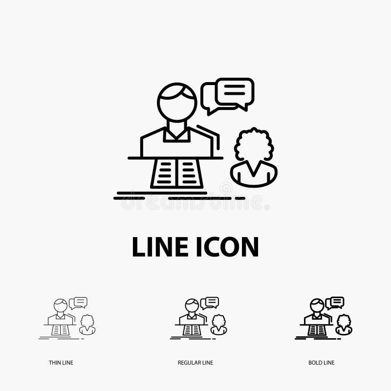 consulta, charla, respuesta, contacto, icono de la ayuda en la línea estilo fina, regular e intrépida Ilustraci?n del vector libre illustration