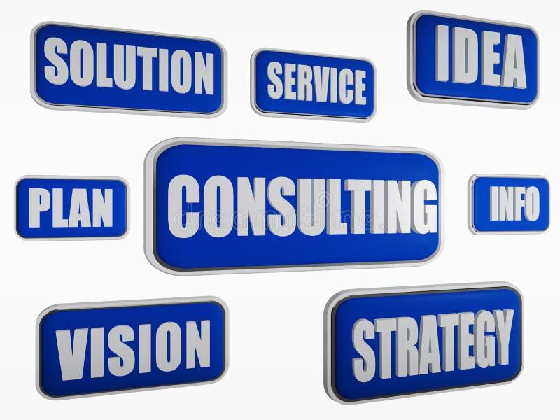 Consulta - concepto azul del negocio ilustración del vector