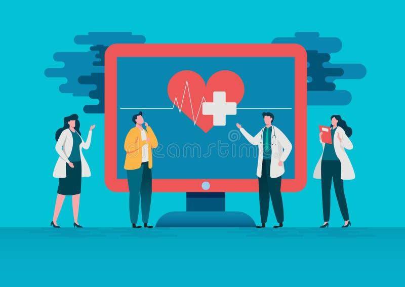 Consulta de la gente al doctor Diagnosis en línea Concepto en línea de la atención sanitaria del hospital, equipo médico Uso sano libre illustration