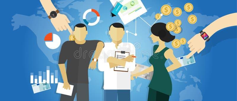 Consulta del concepto del trabajo de las reuniones del consultor de la estrategia de la consultoría de negocios stock de ilustración