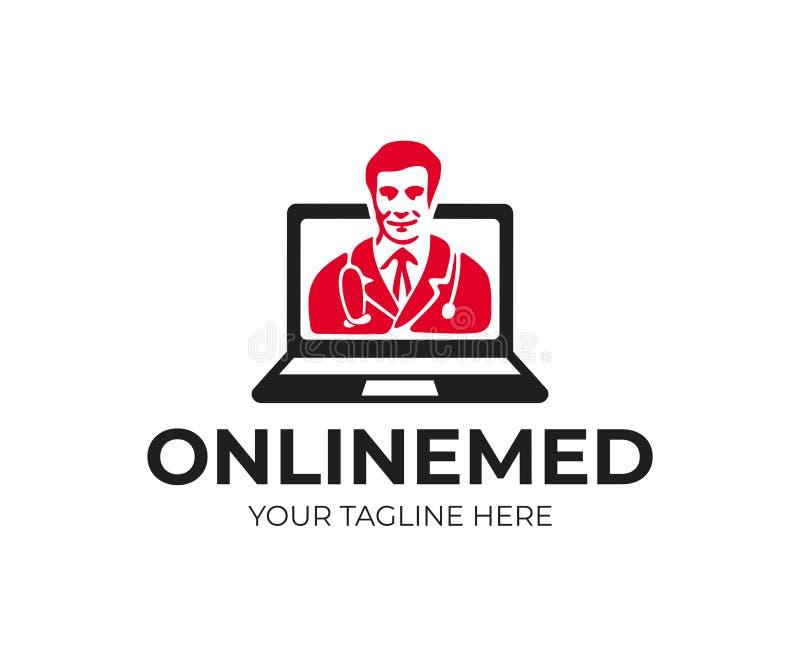Consulta e medicina em linha, doutor na tela do portátil, projeto do logotipo Diagnóstico médico remoto, cuidados médicos, hospit ilustração do vetor