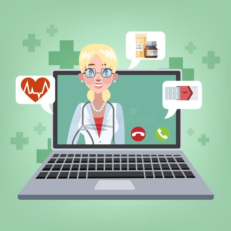Consulta en línea con el doctor Tratamiento médico remoto stock de ilustración