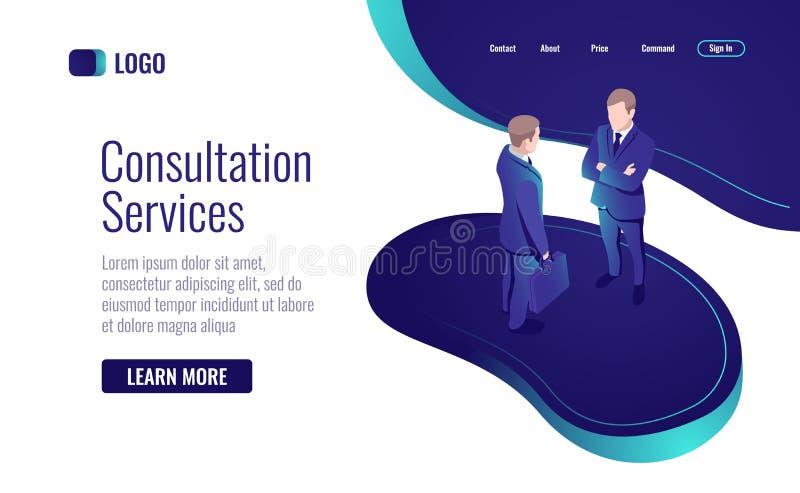 Consulta en línea, dos hombres que hablan, para tener un diálogo, icono isométrico de proceso del trabajo en equipo ilustración del vector
