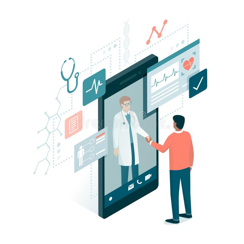 Consulta médica en línea libre illustration