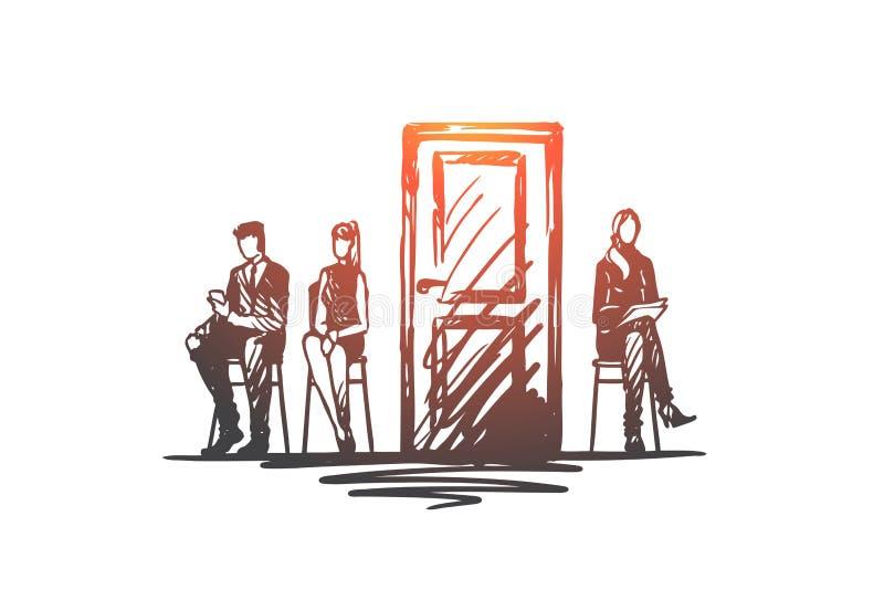 Consulta, testes, candidato, conceito de recrutamento Vetor isolado tirado mão ilustração stock