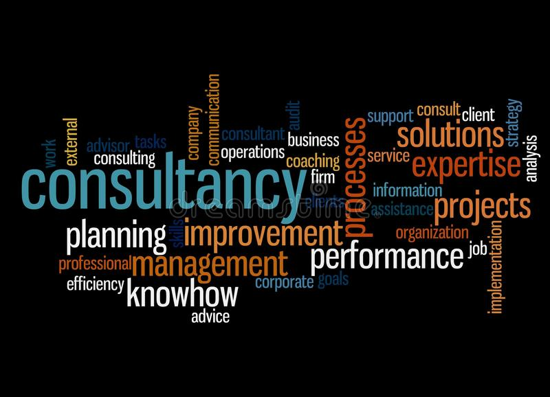 Consultancy. Word cloud with relevant consultancy topics