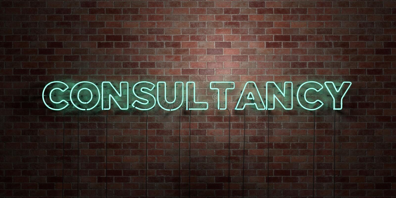 CONSULTANCY - fluorescent Neon tube Sign on brickwork - Front view - 3D rendered royalty free stock picture. Can be used for online banner ads and direct vector illustration