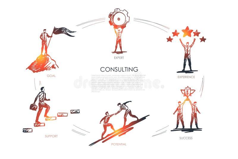 Consultando, perito, experiência, sucesso, potencial, grupo do vetor do objetivo ilustração royalty free