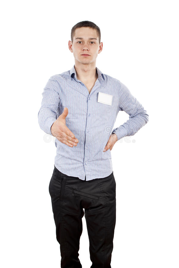 Download Consultant Gives Hand Greetings Stock Image - Image: 25060621