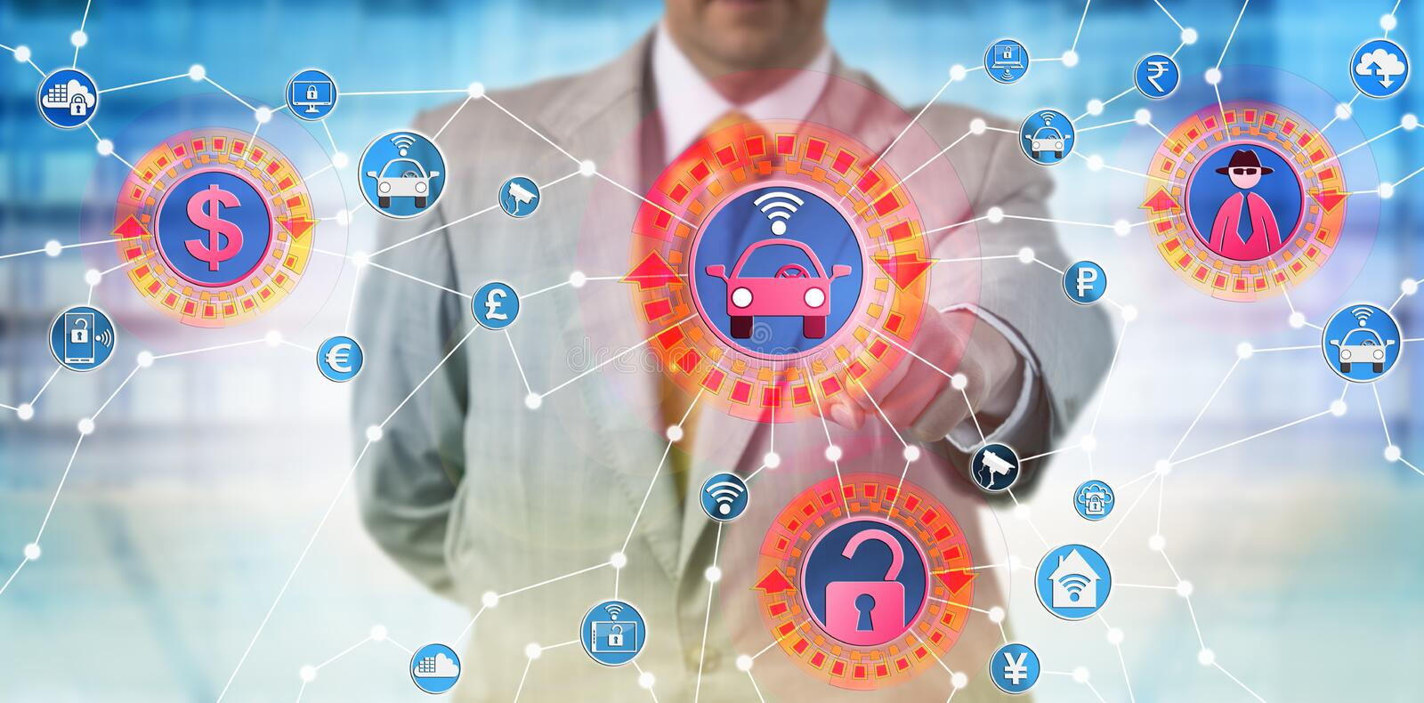 Consultant Presenting IoT Cyber-Hijacking Attack stock photos