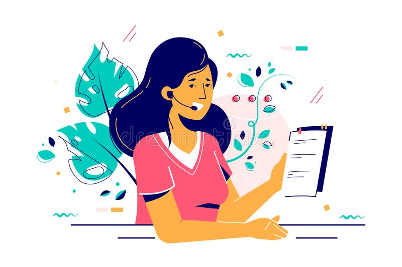 Consultant woman in headset with paper report. Vector illustration. Smiling worker character consulting clients and holding document flat style design vector illustration