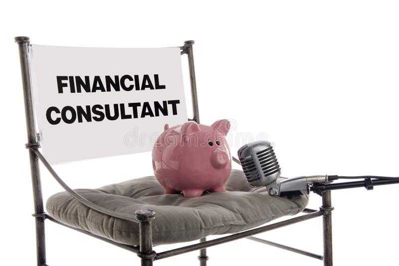 Consultante financeiro do banco Piggy fotografia de stock royalty free