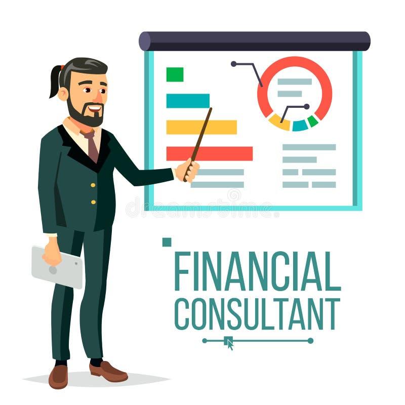 Consultante financeiro Vetora Homem de negócios With Blackboard Apoio profissional A pesquisa representa graficamente o mercado N ilustração royalty free