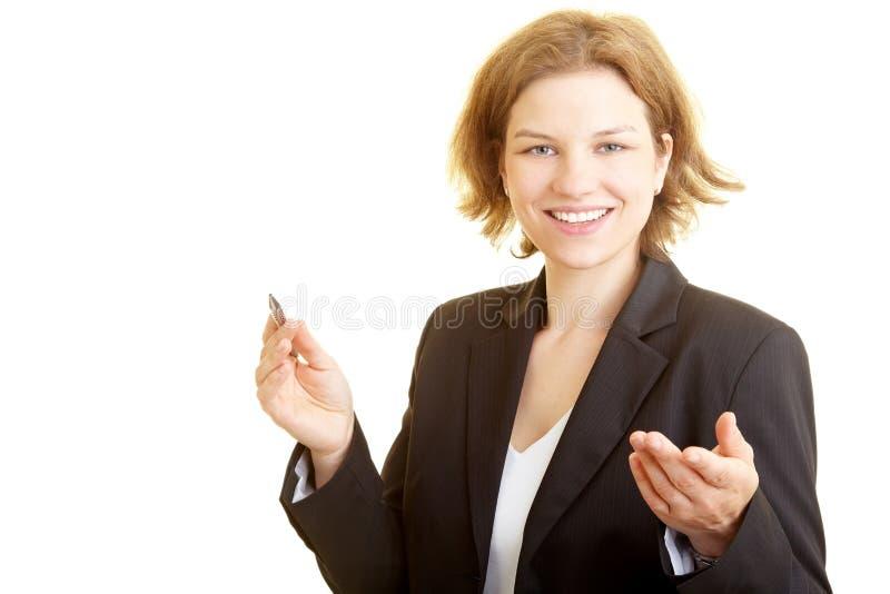 Consultante que entrega um discurso fotografia de stock royalty free