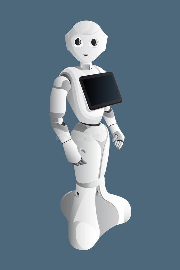 Consultante realístico do robô com tabuleta digital ilustração royalty free