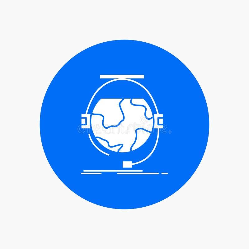 consultation, éducation, en ligne, e apprenant, icône blanche de Glyph de soutien en cercle Illustration de bouton de vecteur illustration libre de droits