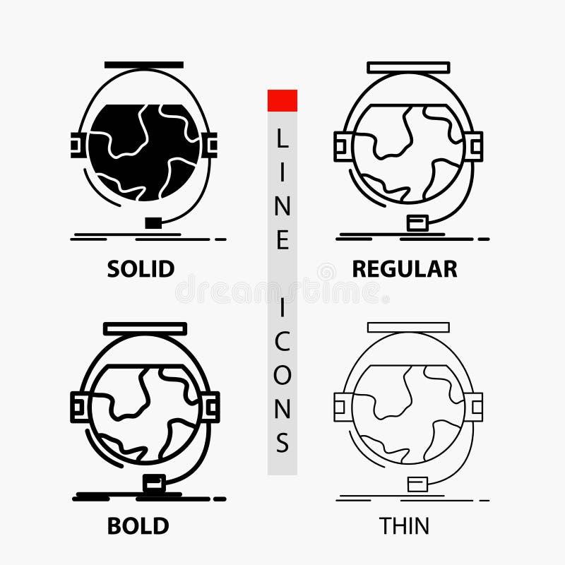 consultation, étude d'éducation, en ligne, d'e, icône de soutien dans la ligne et le style minces, réguliers, audacieux de Glyph  illustration libre de droits
