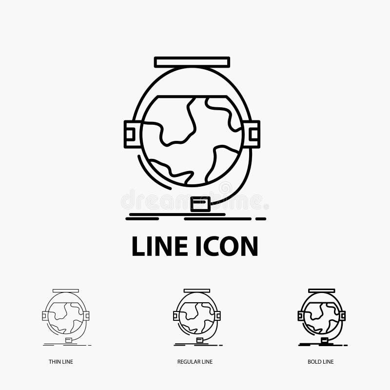 consultation, étude d'éducation, en ligne, d'e, icône de soutien dans la ligne style mince, régulière et audacieuse Illustration  illustration stock