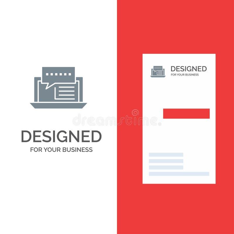 Consultation, causerie, dialogue, Grey Logo Design et calibre d'Internet, en ligne, sociaux de carte de visite professionnelle de illustration stock