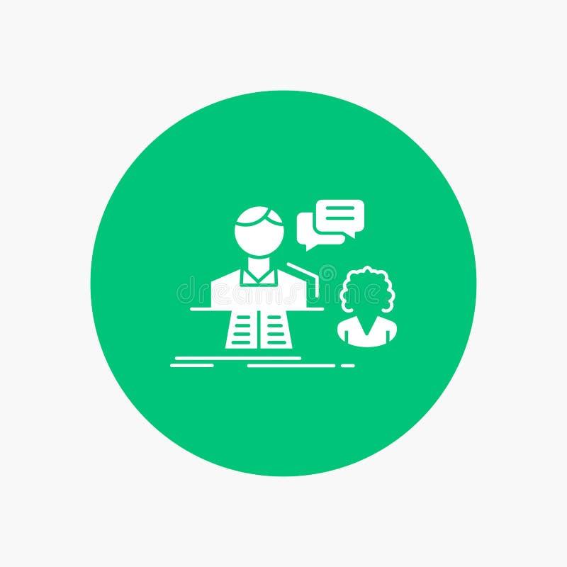 consultation, causerie, réponse, contact, icône blanche de Glyph de soutien en cercle Illustration de bouton de vecteur illustration libre de droits