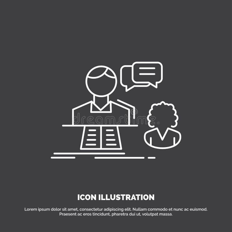consultation, causerie, réponse, contact, icône de soutien Ligne symbole de vecteur pour UI et UX, site Web ou application mobile illustration libre de droits