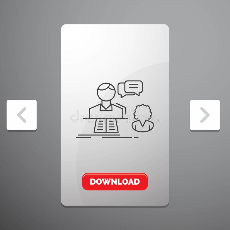 consultation, causerie, réponse, contact, ligne icône de soutien dans la conception de glisseur de paginations de beuverie et bou illustration stock