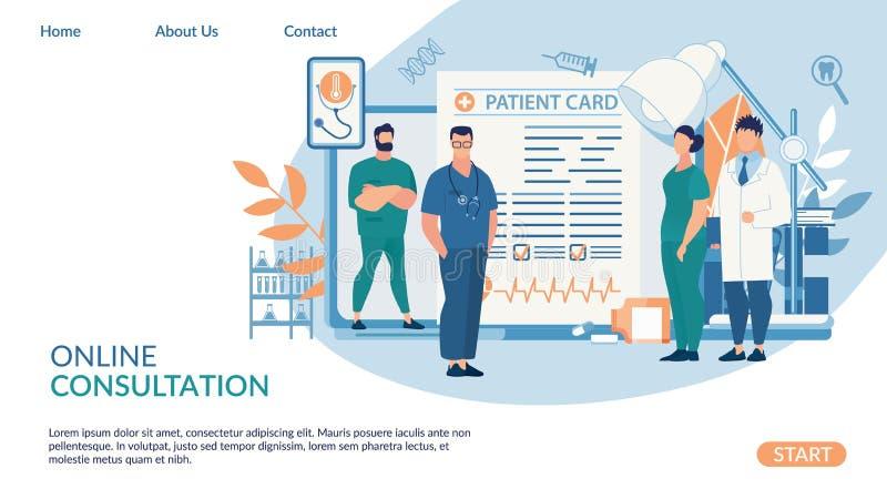Consultation en ligne d'insecte, lettrage patient de carte illustration stock