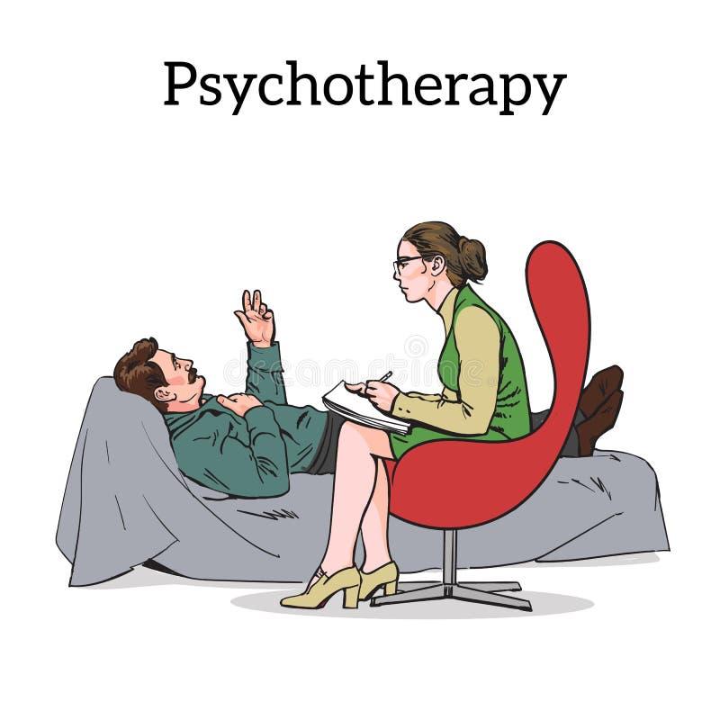 Consultation et aide d'un problème de Patients de psychologue illustration stock
