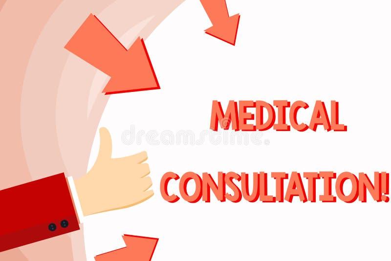 Consultation médicale des textes d'écriture Concept signifiant un rendu d'avis médical ou de main professionnelle d'opinion illustration de vecteur