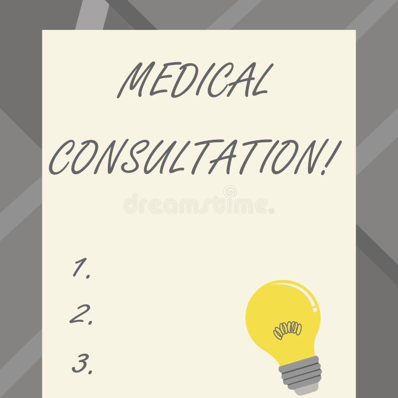 Consultation médicale des textes d'écriture de Word Concept d'affaires pour un rendu d'avis médical ou d'opinion professionnel illustration de vecteur