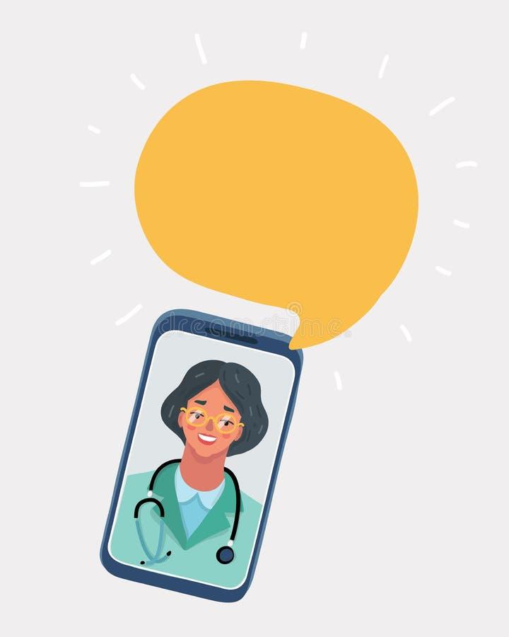 Consultation médicale et appui en ligne illustration de vecteur