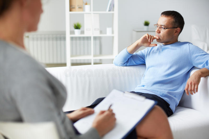 Consultation of psychiatrist stock photography