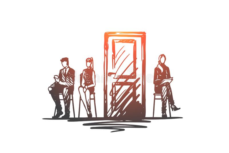 Consultation, testing, candidate, recruiting concept. Hand drawn isolated vector. stock illustration
