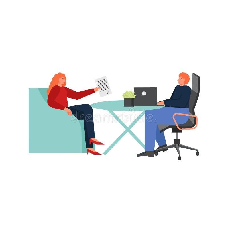 Consultazione del direttore di banca, illustrazione isolata piana di vettore royalty illustrazione gratis