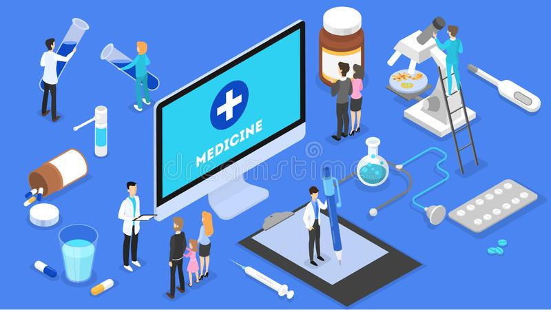 Consultazione online con medico Trattamento medico a distanza illustrazione di stock