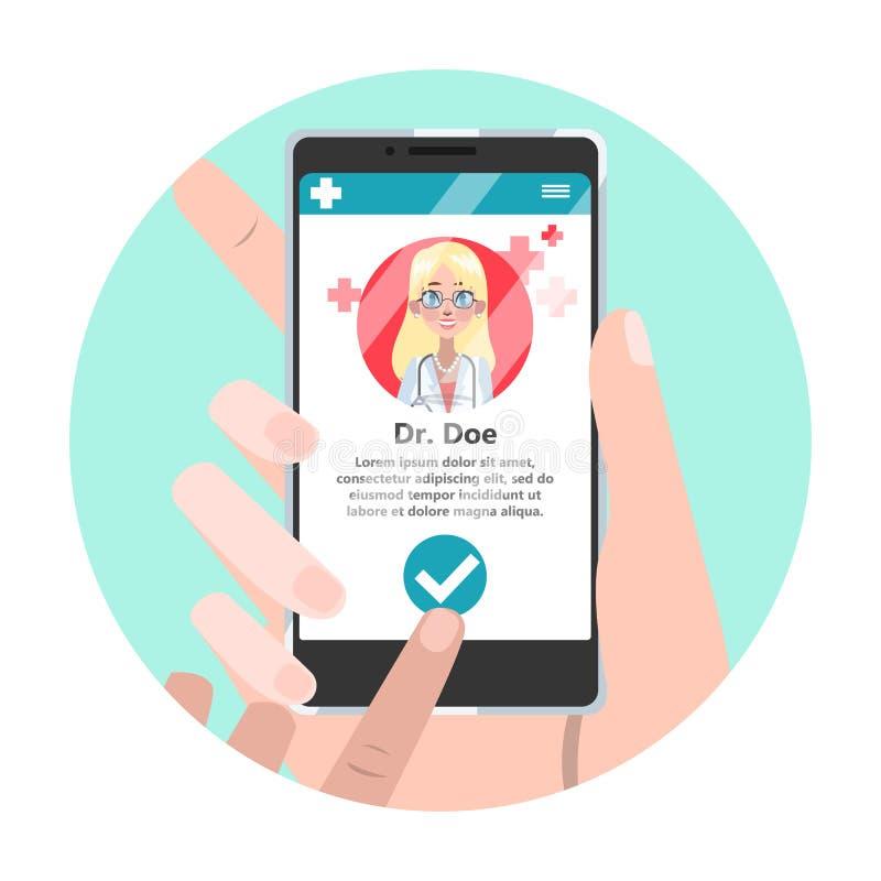 Consultazione online con medico Trattamento medico a distanza illustrazione vettoriale
