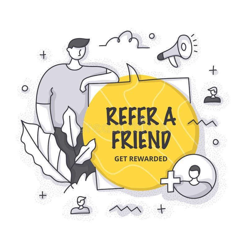 Consulte el concepto de amigo ilustración del vector