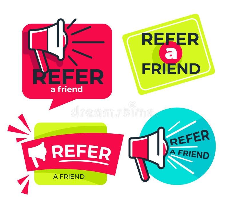 Consulte o amigo isolou a informação dos meios da parte dos ícones ilustração royalty free