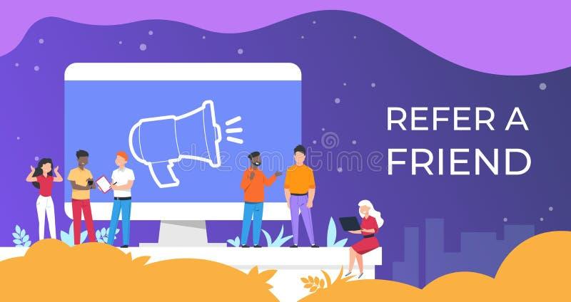Consulte um amigo Os povos agrupam o trabalho junto em atrair a audiência, conceito do negócio do programa da referência Referênc ilustração royalty free