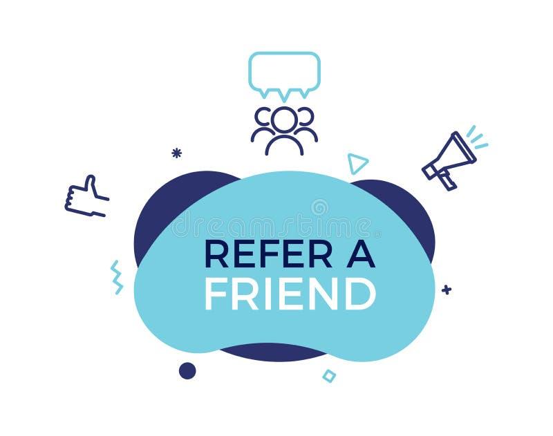 Consulte um texto do amigo em uma forma na moda fluida com elementos geométricos Forma do sumário da bandeira do projeto do vetor ilustração royalty free